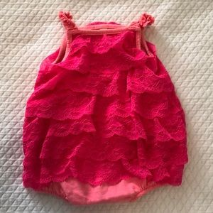 Baby Girl Pink Lace Onesie